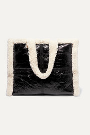 Lola faux shearling-trimmed crinkled faux leather tote
