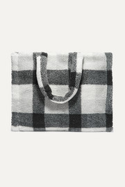 Lola checked faux shearling tote