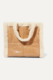 Lolita faux shearling-trimmed crinkled faux leather tote