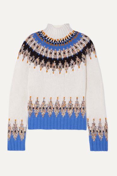 Stine Goya Justin Fair Isle Wool-blend Turtleneck Sweater In Ivory