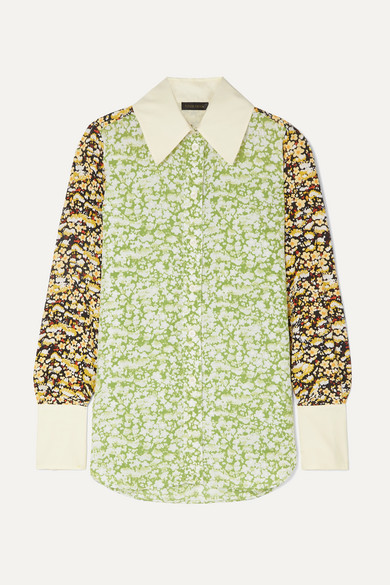 James Oversized Floral Print Crepe Shirt by Stine Goya