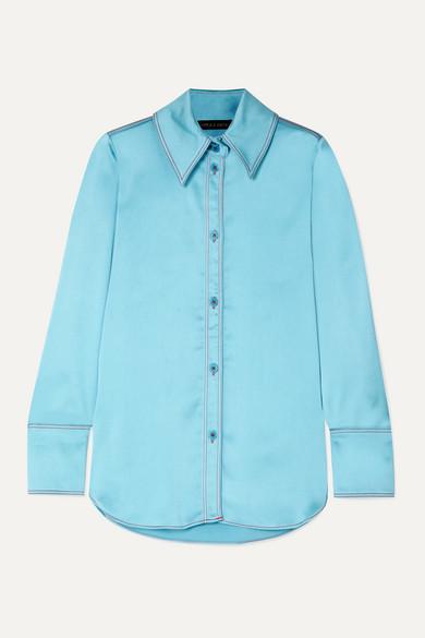 Stine Goya James Oversized Satin Shirt In Sky Blue