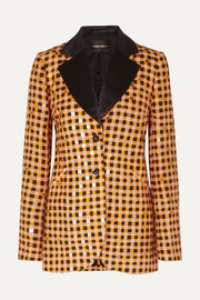 + NET SUSTAIN Florence sequin-embellished gingham organic hemp and silk-blend blazer
