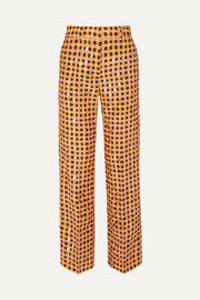 + NET SUSTAIN Marcel sequin-embellished gingham organic hemp and silk-blend straight-leg pants
