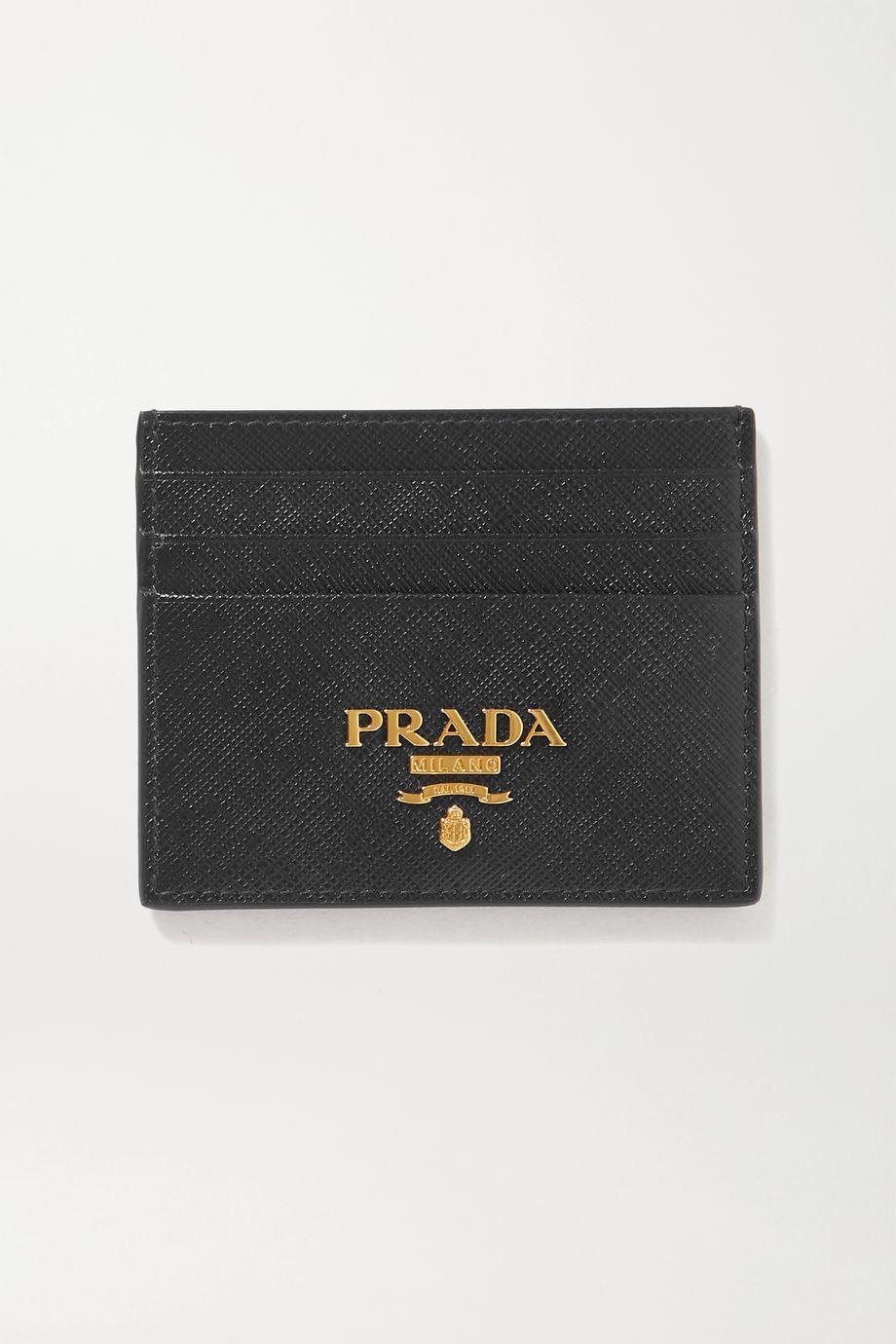 Prada Porte-cartes en cuir texturé