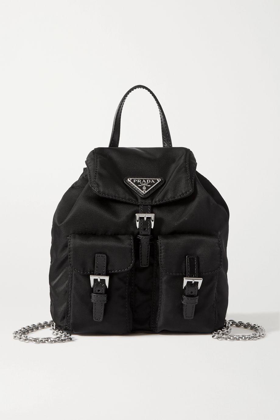 Prada Vela leather-trimmed nylon backpack