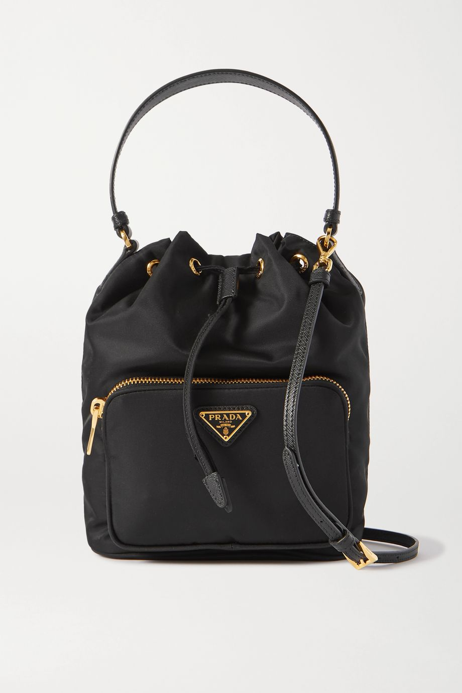 Prada Vela small textured leather-trimmed nylon bucket bag