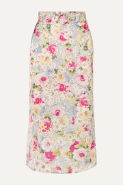 Rosie belted faux pearl-embellished floral-print satin midi skirt