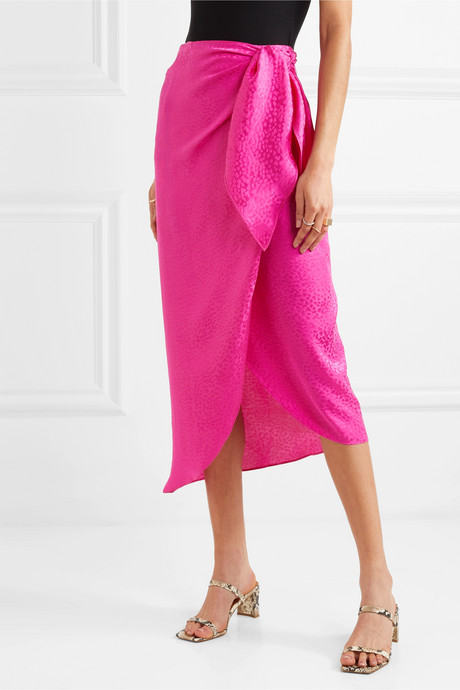 Carrie silk-jacquard wrap midi skirt
