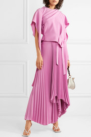 A.W.A.K.E. MODE Doric pleated asymmetric crepe wrap skirt