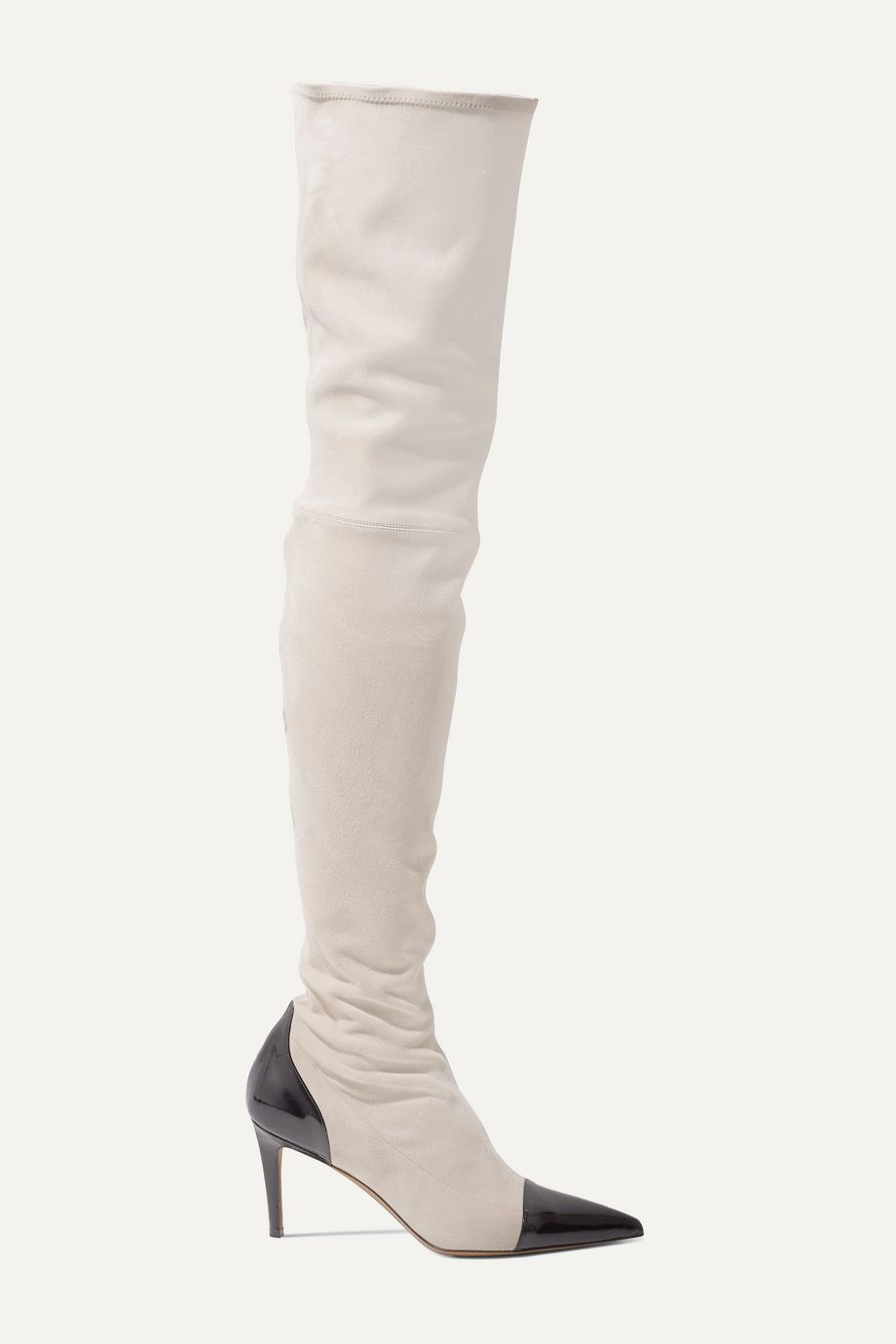 Alexandre Vauthier Helena two-tone patent leather-trimmed suede thigh boots