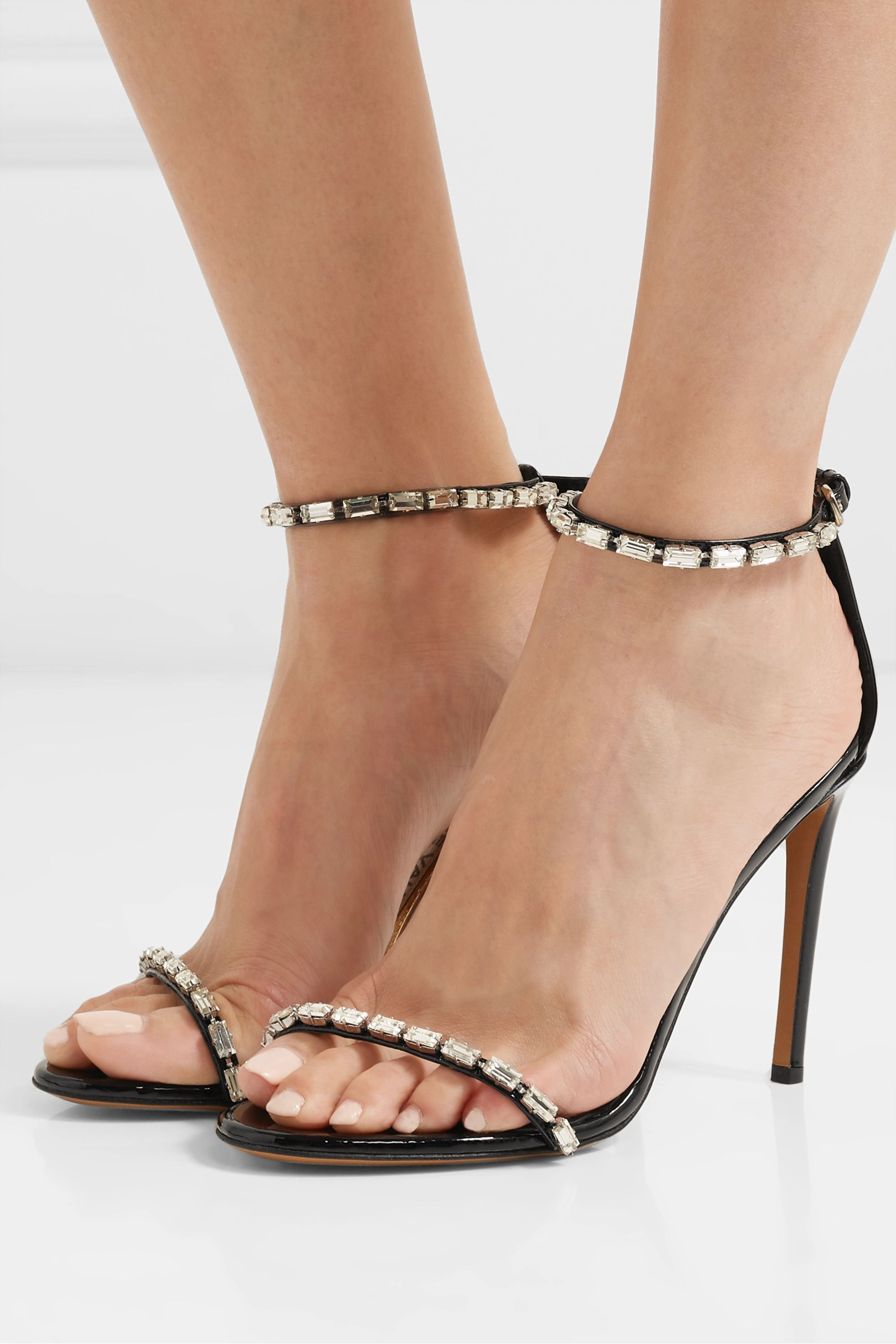 Alexandre Vauthier Carla crystal-embellished patent-leather sandals