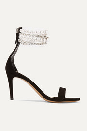 Coco faux pearl and crystal-embellished PVC and suede sandals