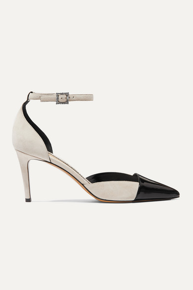 Cindy Crystal Embellished Patent Leather And Suede Pumps by Alexandre Vauthier
