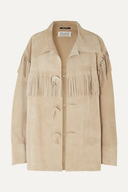 Oversized fringed suede jacket