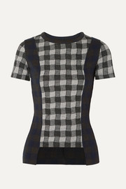 Maison Margiela Paneled checked jersey T-shirt