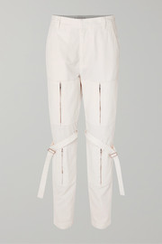 Zip-detailed cotton-canvas pants