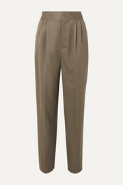 Intarsia-trimmed wool-twill pants