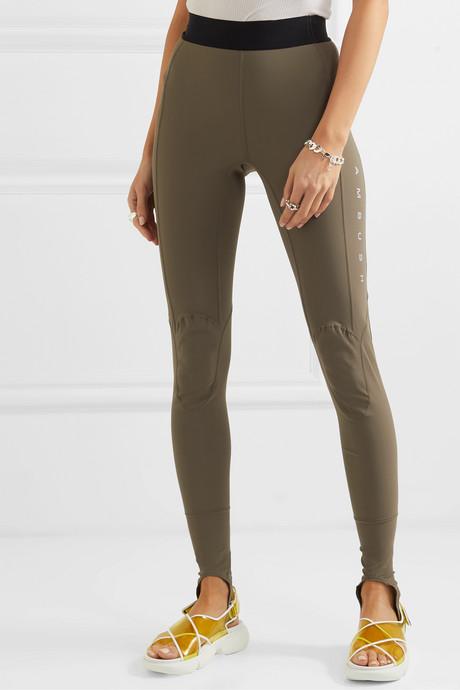 Printed stretch-scuba stirrup leggings
