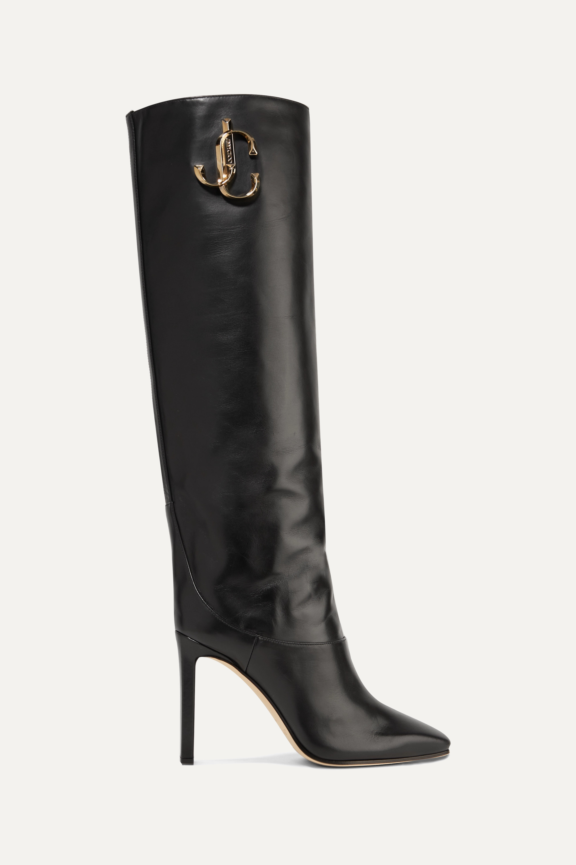 Jimmy Choo Mahesa 100 embellished leather knee boots