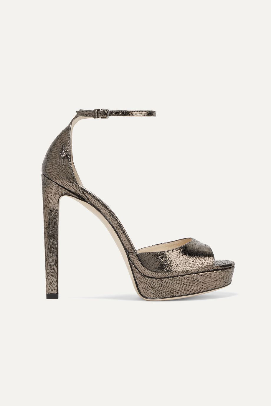 Jimmy Choo Pattie 130 metallic lizard-effect leather platform sandals