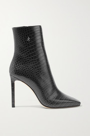 Minori 100 embellished croc-effect leather ankle boots