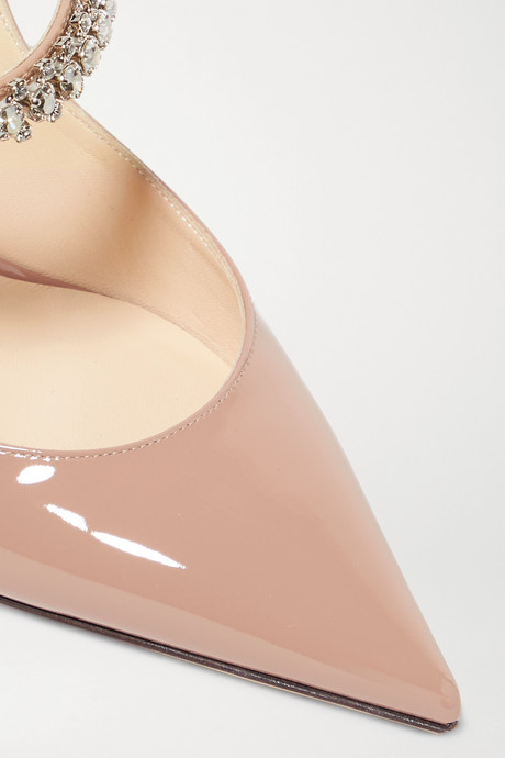 Antique rose Bing 100 crystal-embellished patent-leather mules | Jimmy Choo t6pBNz