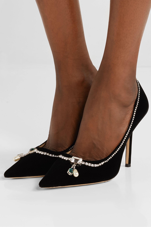 Black Love 100 embellished velvet pumps