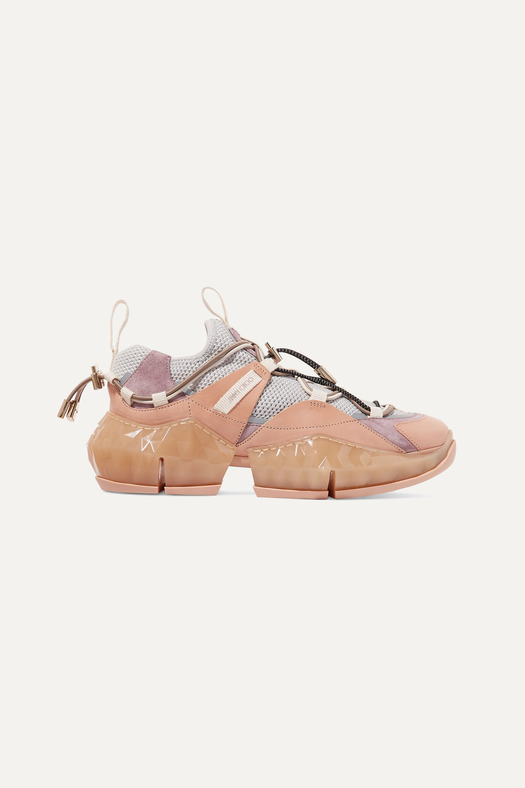 Baby pink Diamond Trail suede, leather