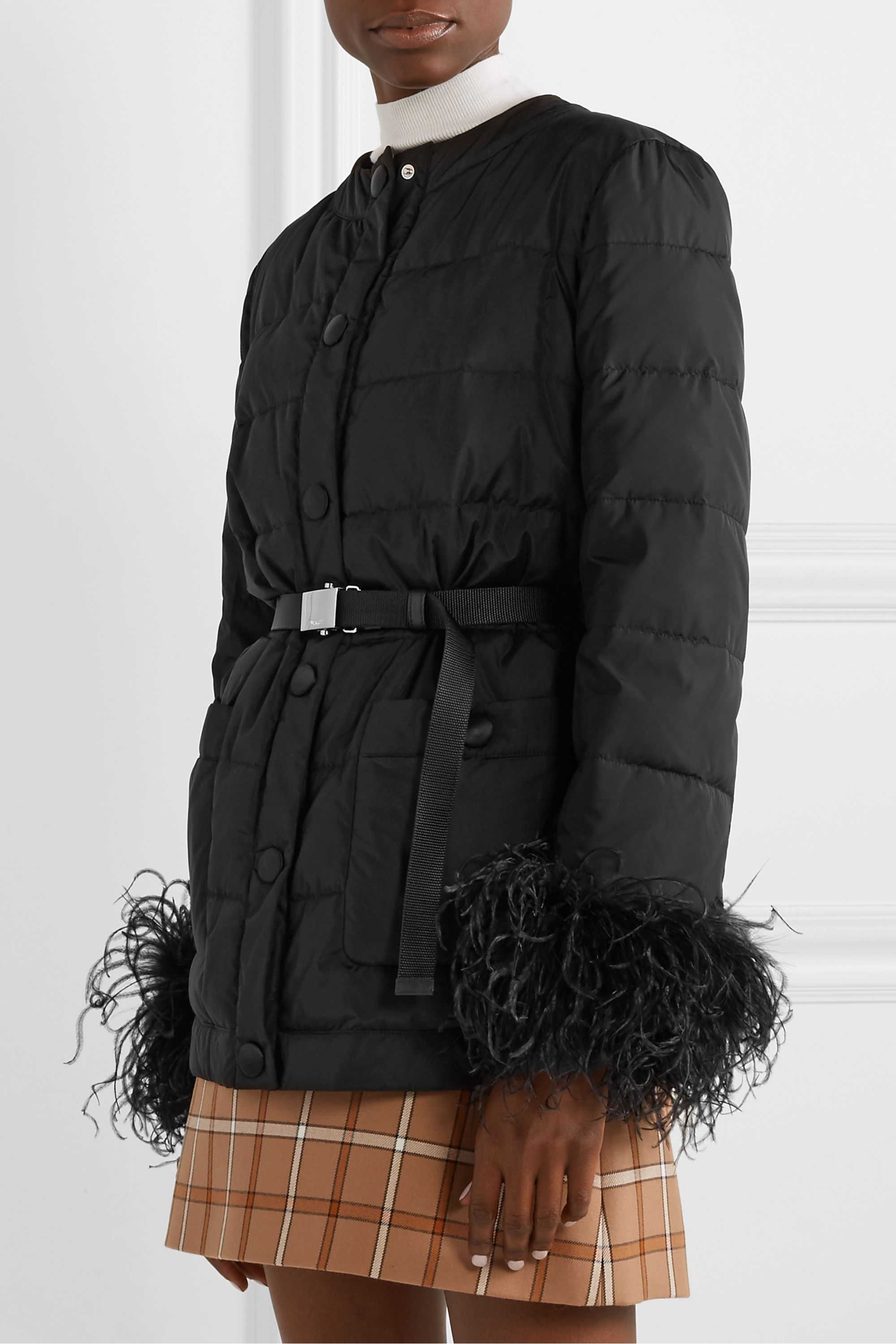 Miu Miu Feather-trimmed quilted shell down jacket