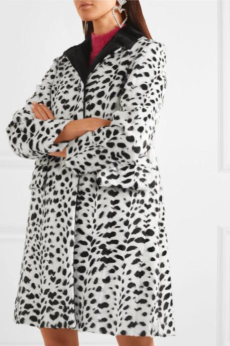 Crystal-embellished animal-print faux fur coat