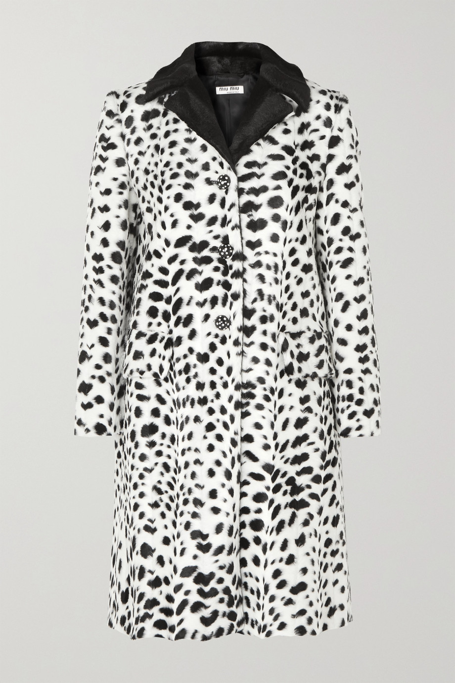 Miu Miu Crystal-embellished animal-print faux fur coat