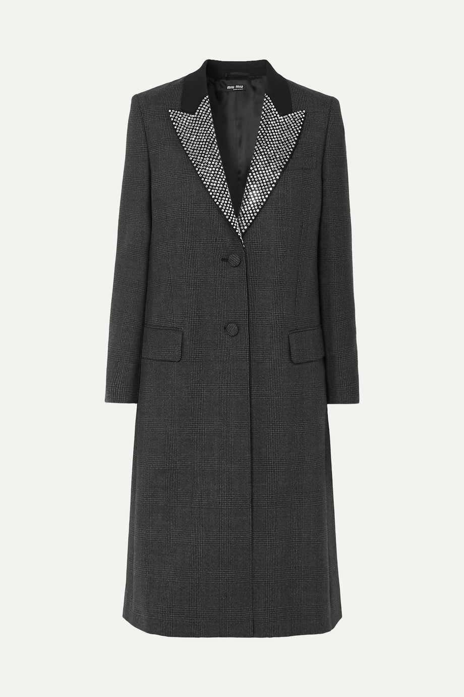 Miu Miu Crystal-embellished Prince of Wales checked wool coat