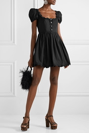 Scalloped crystal-embellished cotton-poplin mini dress