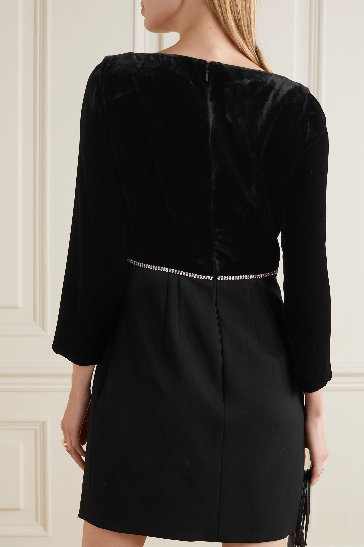 Miu Miu Crystal-embellished velvet and wool-blend crepe mini dress