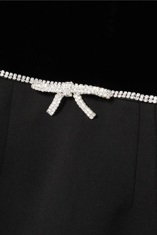 Miu Miu 水晶缀饰天鹅绒羊毛混纺绉纱迷你连衣裙