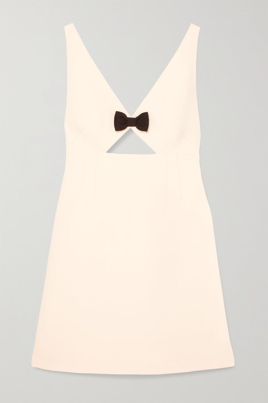 Miu Miu Bow-embellished cutout wool and silk-blend cady mini dress