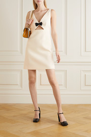 Bow-embellished cutout wool and silk-blend cady mini dress