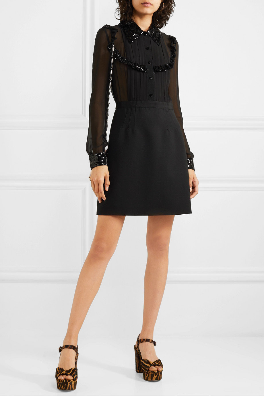 Miu Miu Sequined grosgrain-trimmed silk-chiffon and wool-blend mini dress
