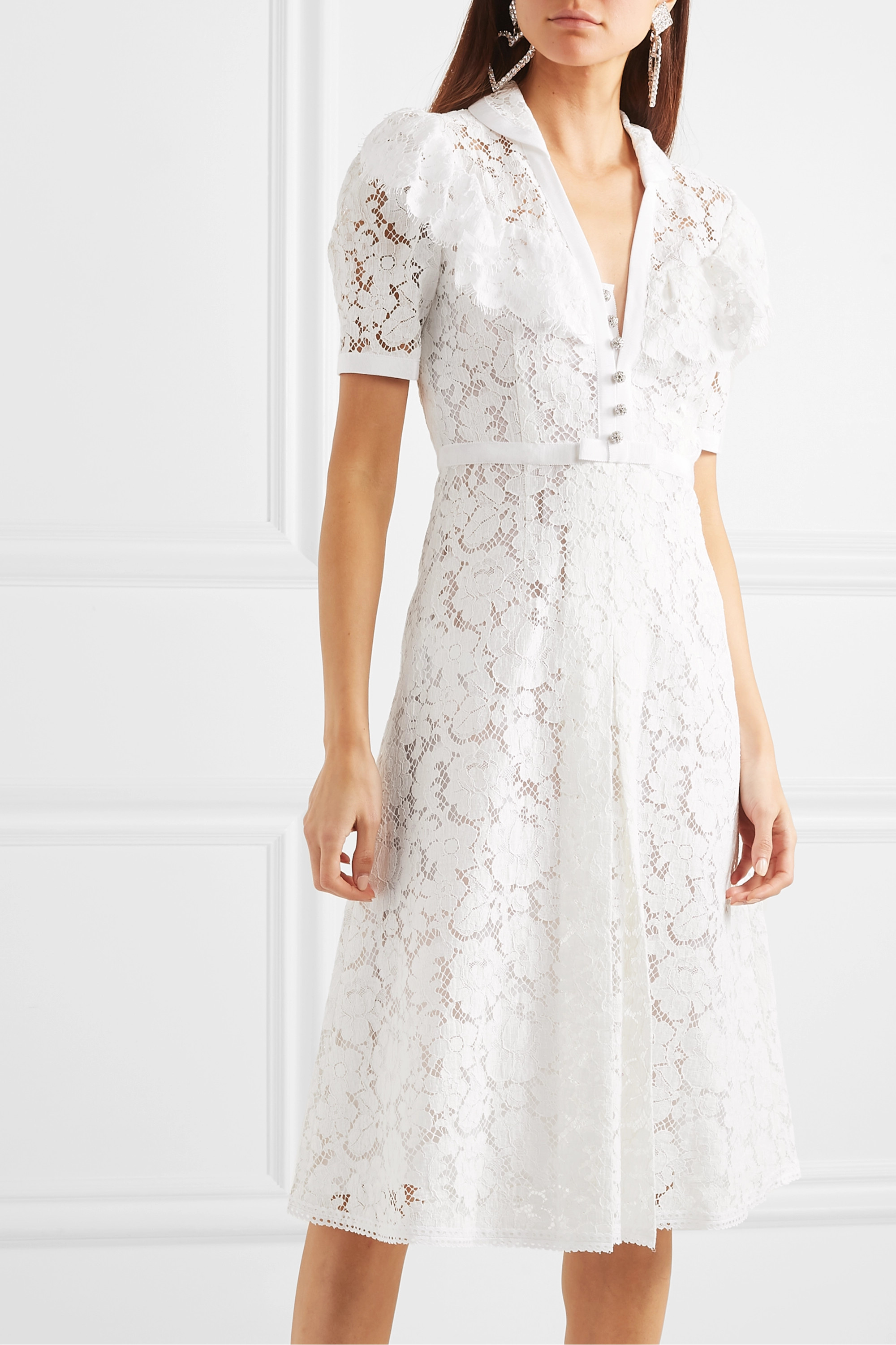 Miu Miu Crystal-embellished corded cotton-blend lace midi dress
