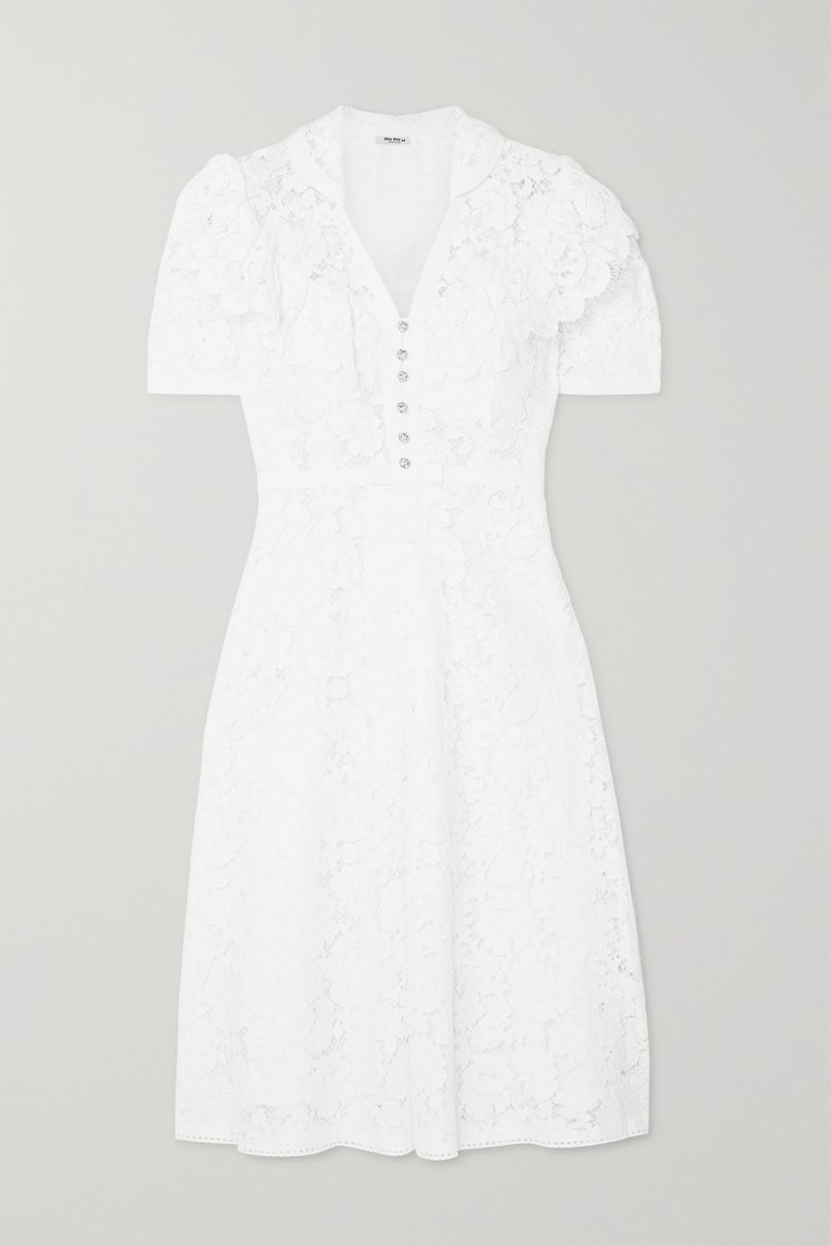 Miu Miu Crystal-embellished corded cotton-blend lace midi dress