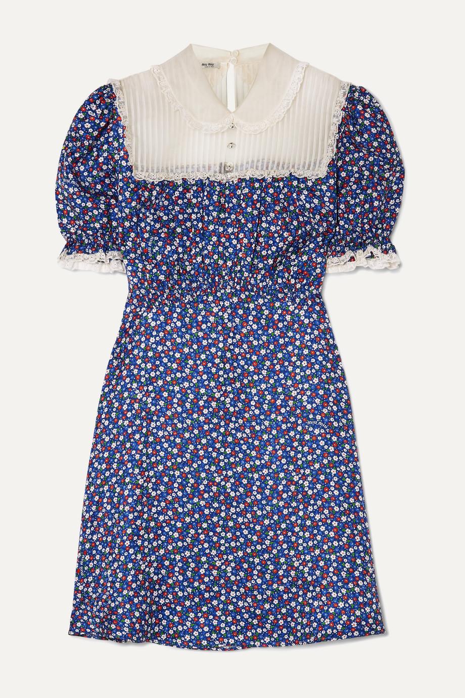 Miu Miu Lace-trimmed floral-print silk-satin and silk-georgette mini dress