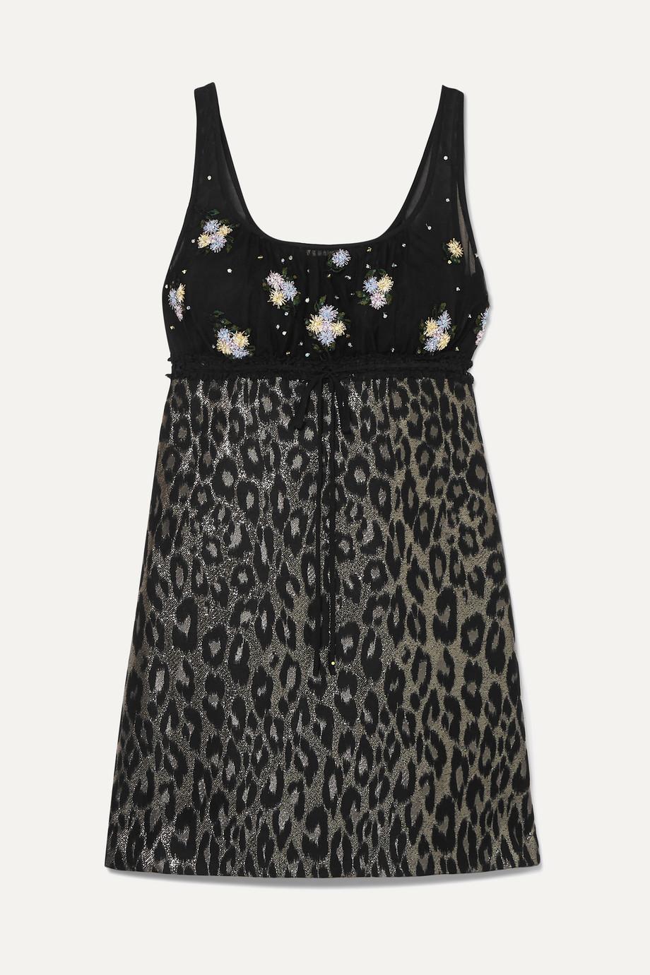 Miu Miu Embroidered tulle and leopard-print jacquard mini dress