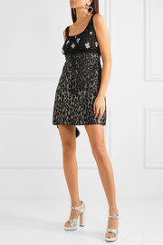Embroidered tulle and leopard-print jacquard mini dress