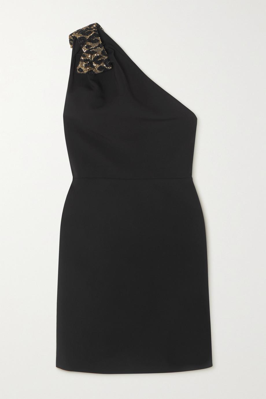 Miu Miu Minikleid aus Cady mit asymmetrischer Schulterpartie und paillettenbesetzter Schleife