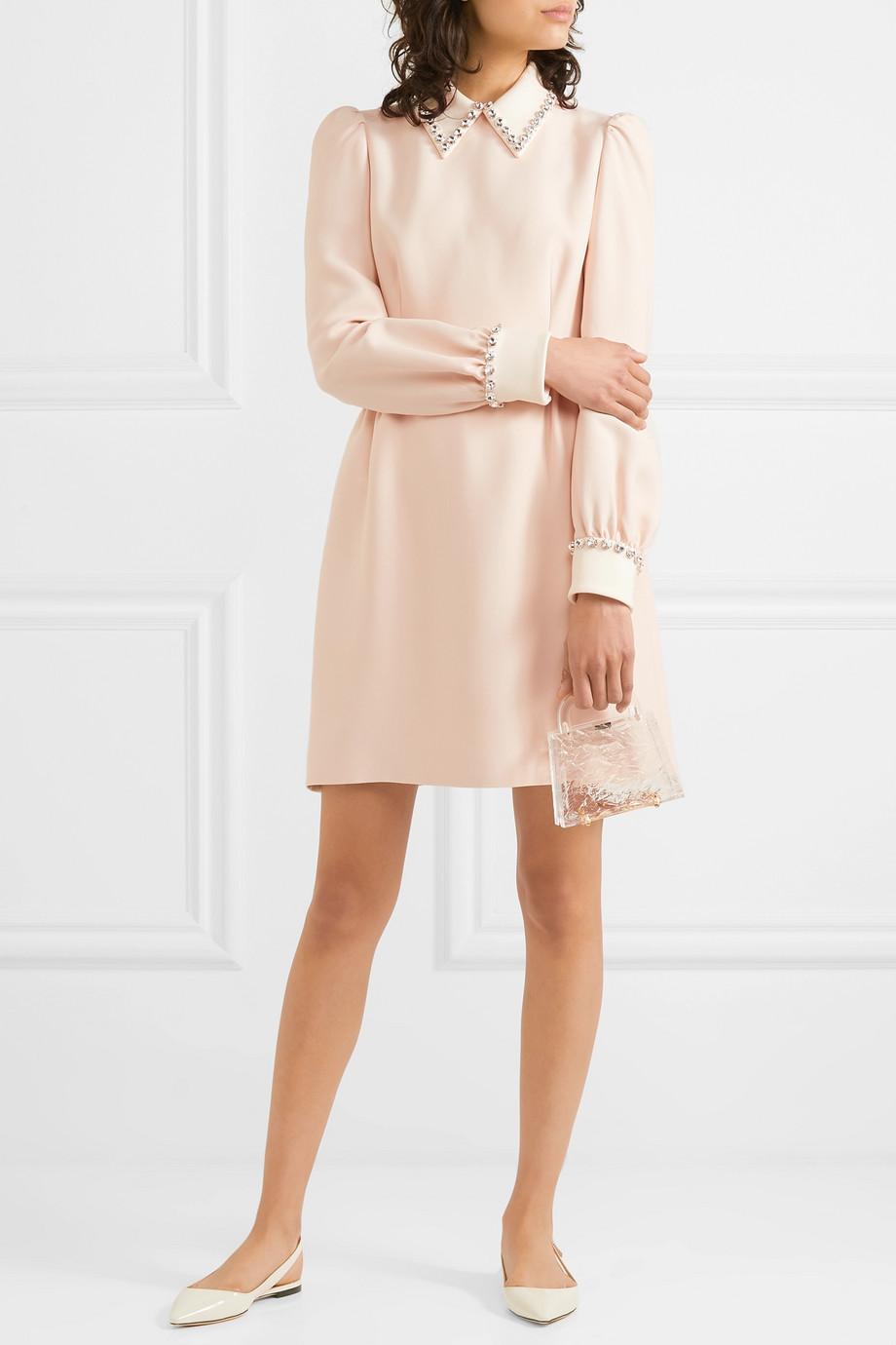 Miu Miu Crystal-embellished cady mini dress