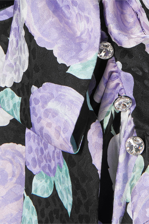 Miu Miu Maxikleid aus Seiden-Jacquard mit Blumenprint, Kristallen und Rüschen
