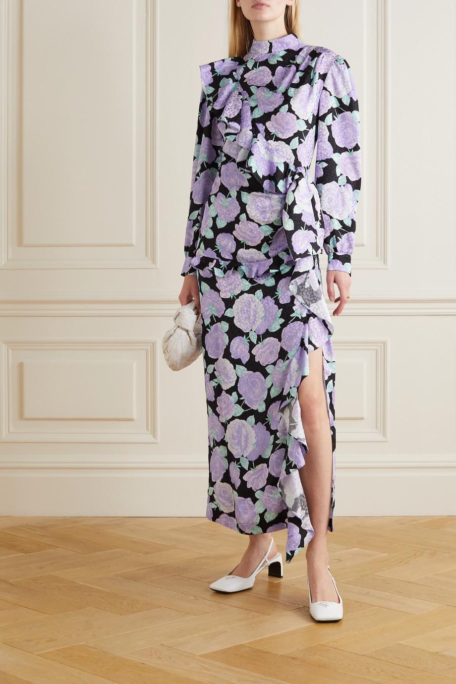 Miu Miu Crystal-embellished ruffled floral-print silk-jacquard maxi dress