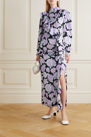 Crystal-embellished ruffled floral-print silk-jacquard maxi dress
