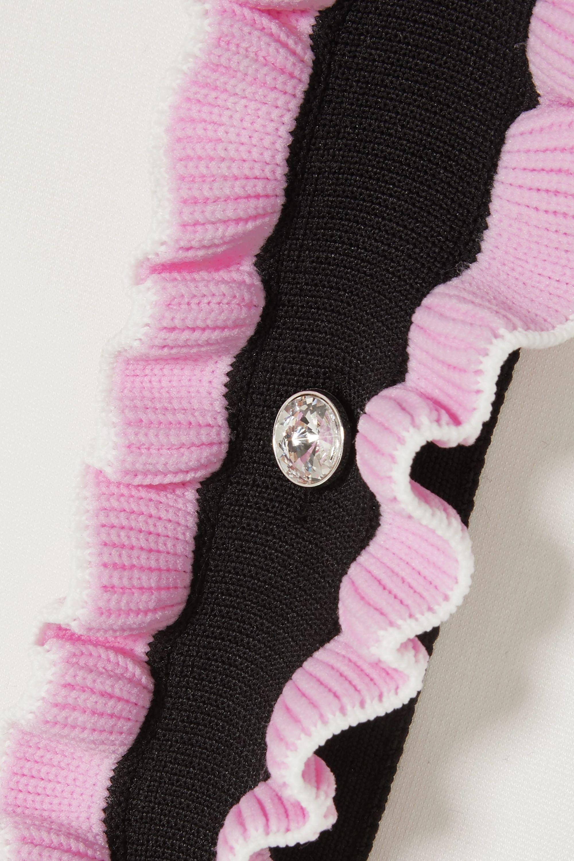 Miu Miu Crystal-embellished ruffled stretch-cady mini dress